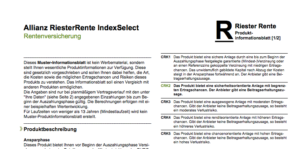 Auszug aus dem Produktinformationsblatt zur Allianz RiesterRente IndexSelect