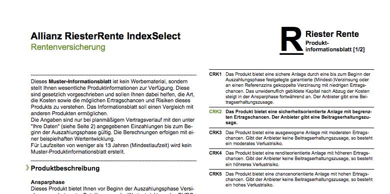 Auszug aus dem Produktinformationsblatt zur Allianz RiesterRente IndexSelect