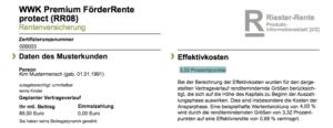 Auszug aus dem Produktinformationsblatt der WWK Premium FörderRente protect